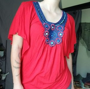 Halo Red & Blue Beaded Short Sleeve Flowing Shirt